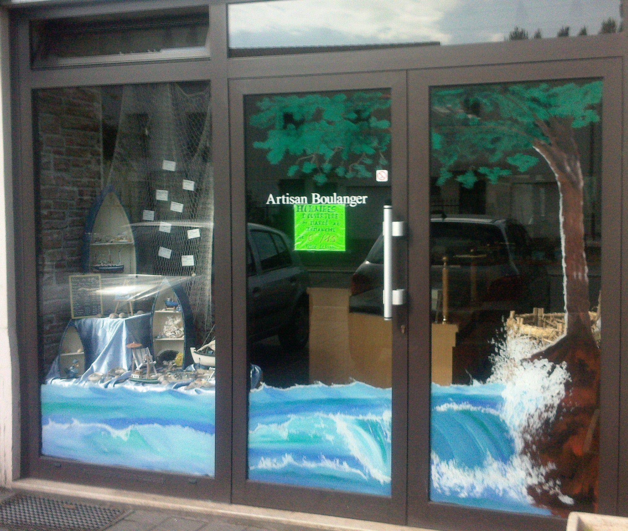 fresque peinte sur une vitrine de magasin decor de mer en vitrine. Black Bedroom Furniture Sets. Home Design Ideas